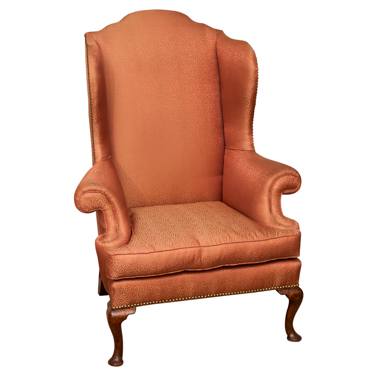 Queen anne upholstered wingback chair images for Queen anne furniture