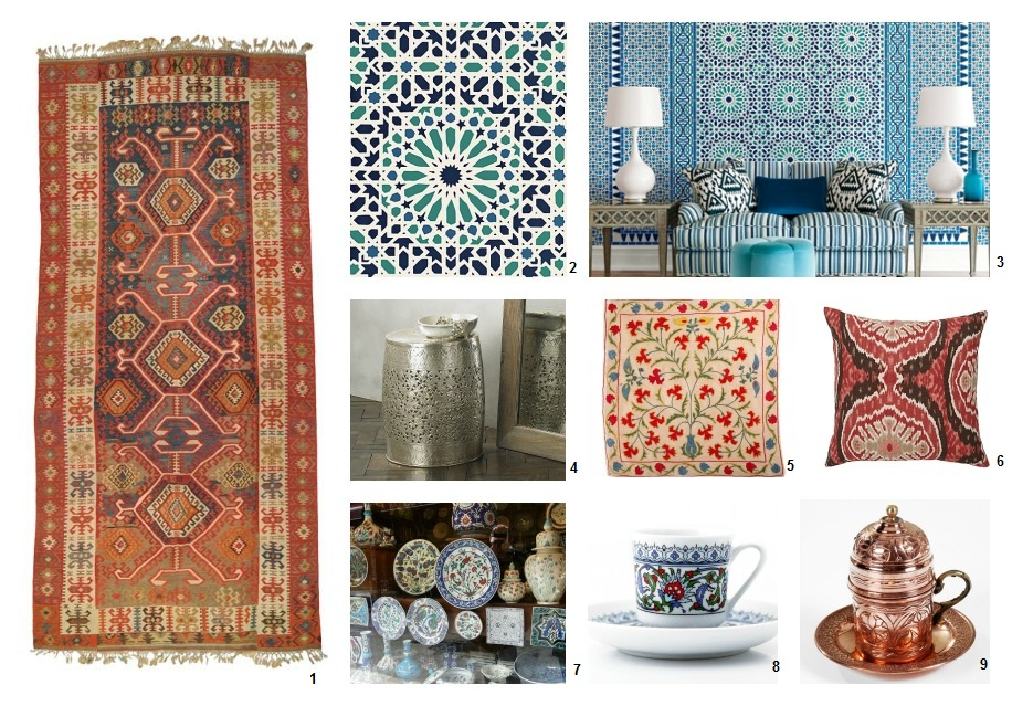 1. Anatolia - Konya Kilim from kilim.com, 2. Nasrid Palace Mosaic from Schumacher, 3. Nasrid Mosaic from Schumacher, 4. Brass Frette Stool from Lombok, 5. Turkish cushion from Turkish Towel Store, Turkish style cushion from ZGallerie, Turkish plates on the market in Istanbul, Turkish cup and saucer from and Antep Work Copper Turkish Coffee Cup both from Turkish Towel store,
