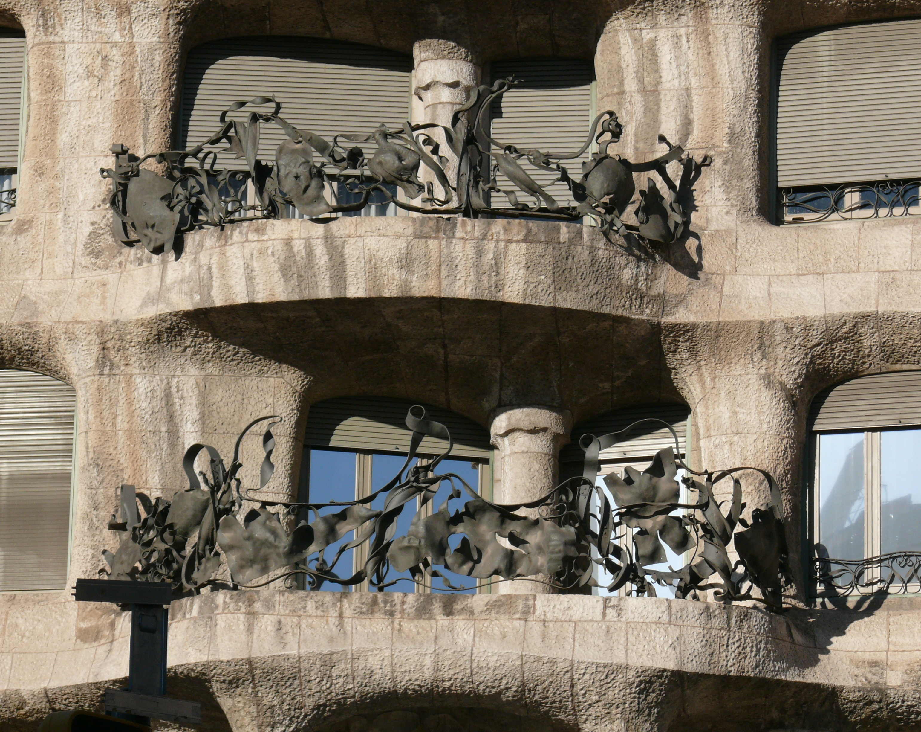 "Wrought iron balconies on Casa Mila ""La Pedrera"""