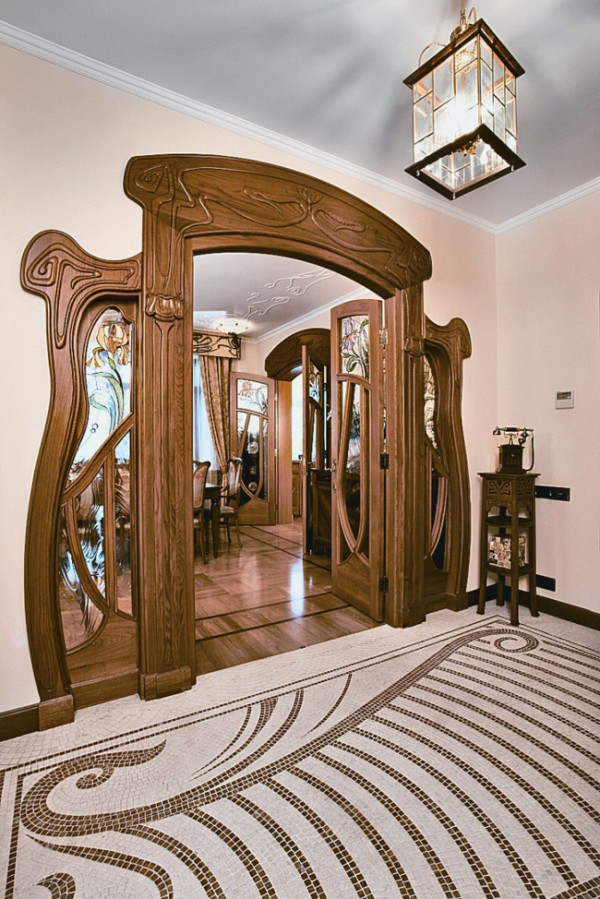 Modern apartment in Moscow in Art Nouveau style. Image via