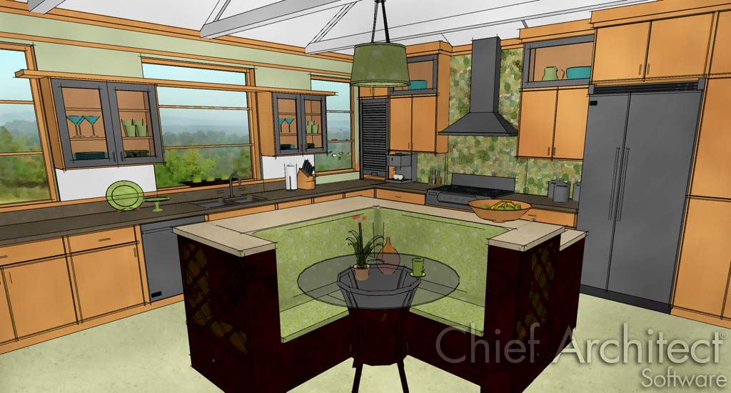 Home Designer Professional 2017 Green Bubble Kitchen