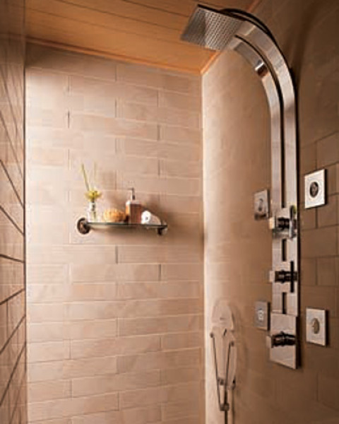 One little shelf in the shower room might not be enough to place all bathroom amenities.