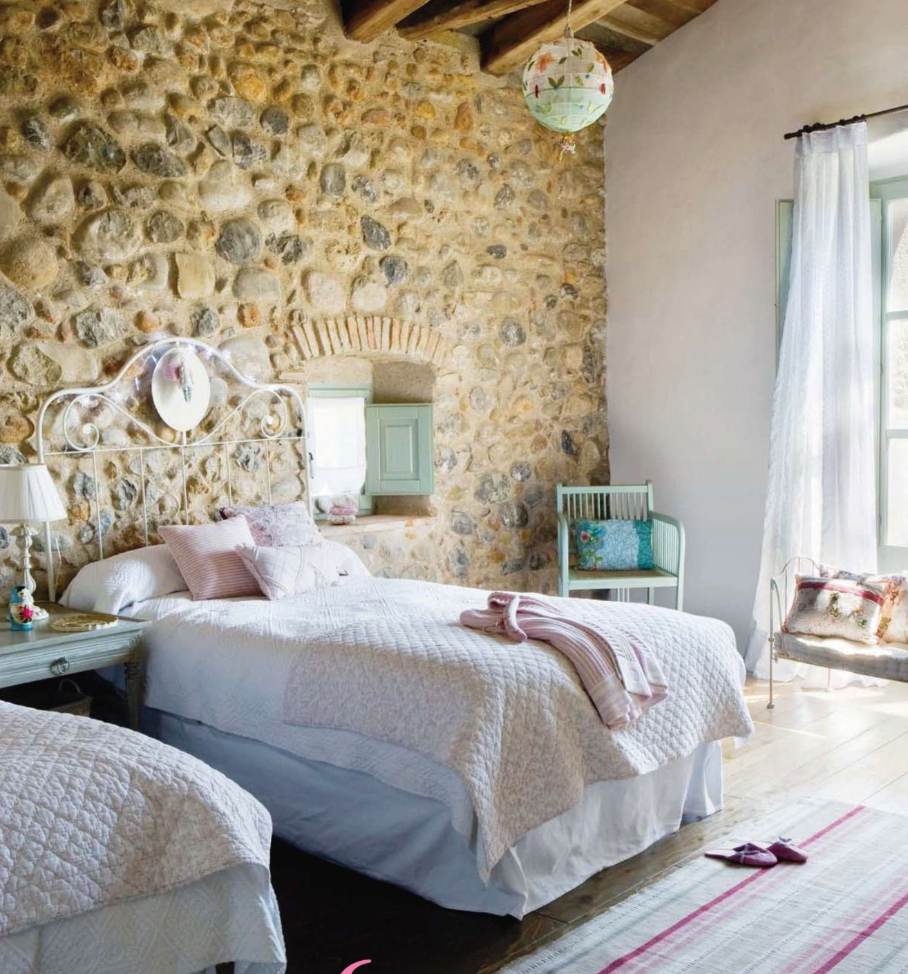 exposed wall in unusual places like in this childrens room here a very powerful - Interior Stone Wall Designs