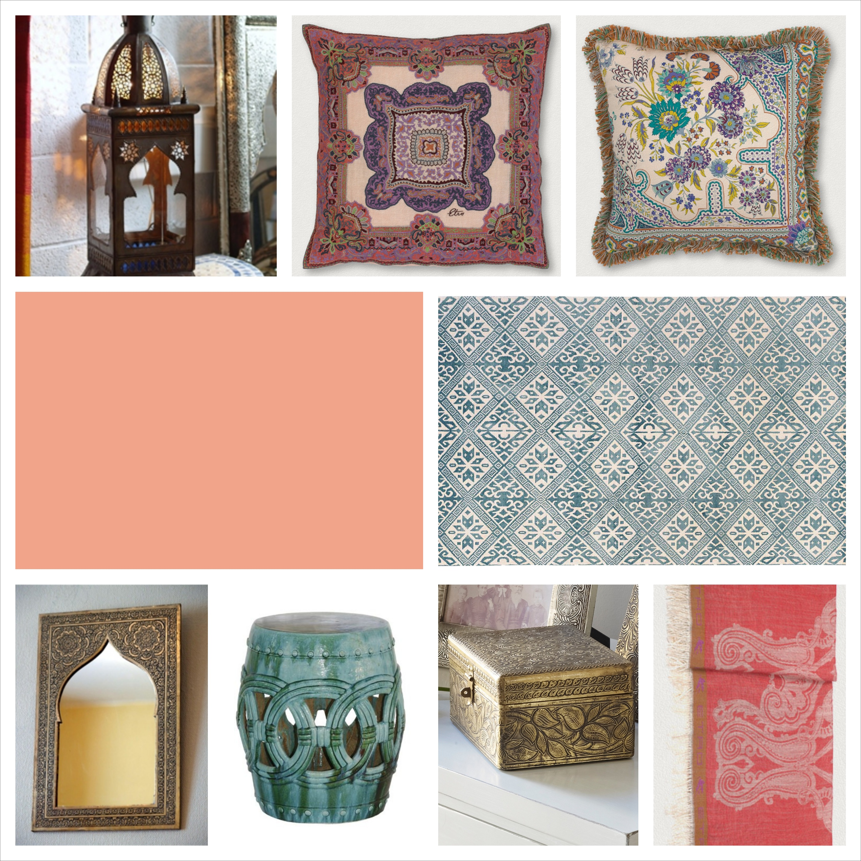 """Lantern and Mirror by Moroccan Decor, Cushions and throw by Etro, paint """"Dusky Rose"""" by Benjamin Moore, Rug by Luke Irwin, Garden ceramic stool, box by Lombok"""
