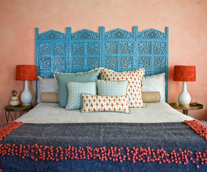 salmon pink and turquoise