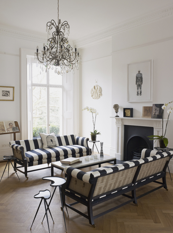 Though monochrome scheme is chosen to decorate this room, white is left to dominate. Source