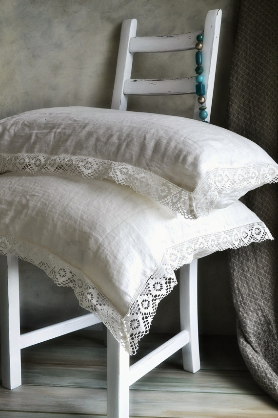 lace and linen cushions