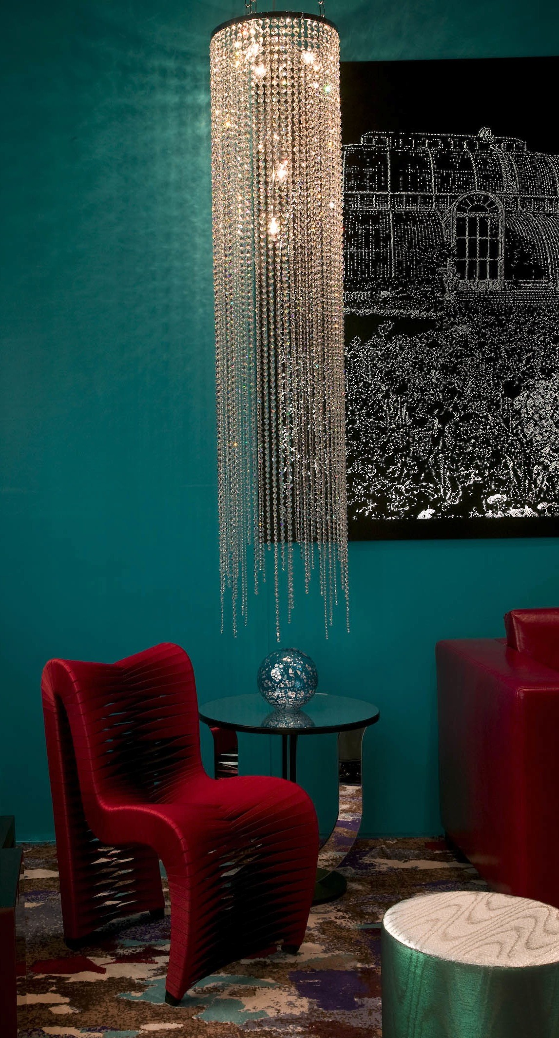 Long Clear Crystal Circular Chandelier by Spina