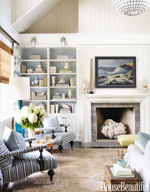 Stacking books is one of my favorite decorating tricks for an unused  fireplace  and so easy to make!