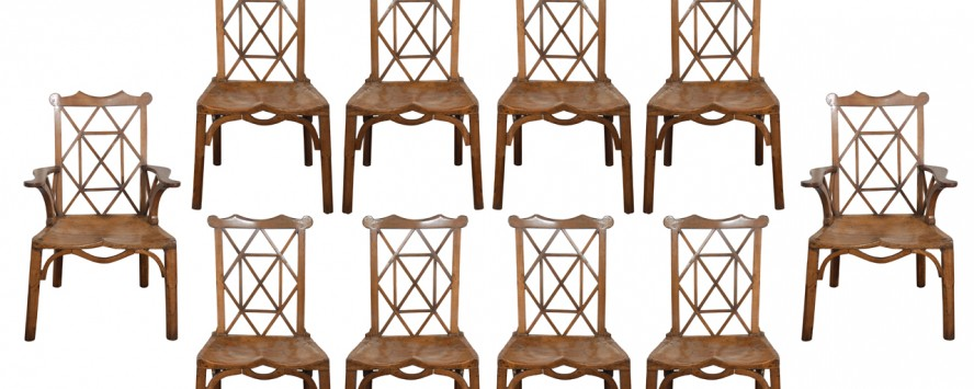 Set of 10 Chippendale chairs from Gerald Tomlin Antiques.