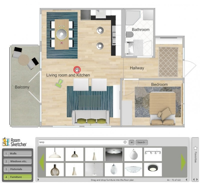Roomsketcher free materialvalg for baderomsm bler for Online floor plan tool
