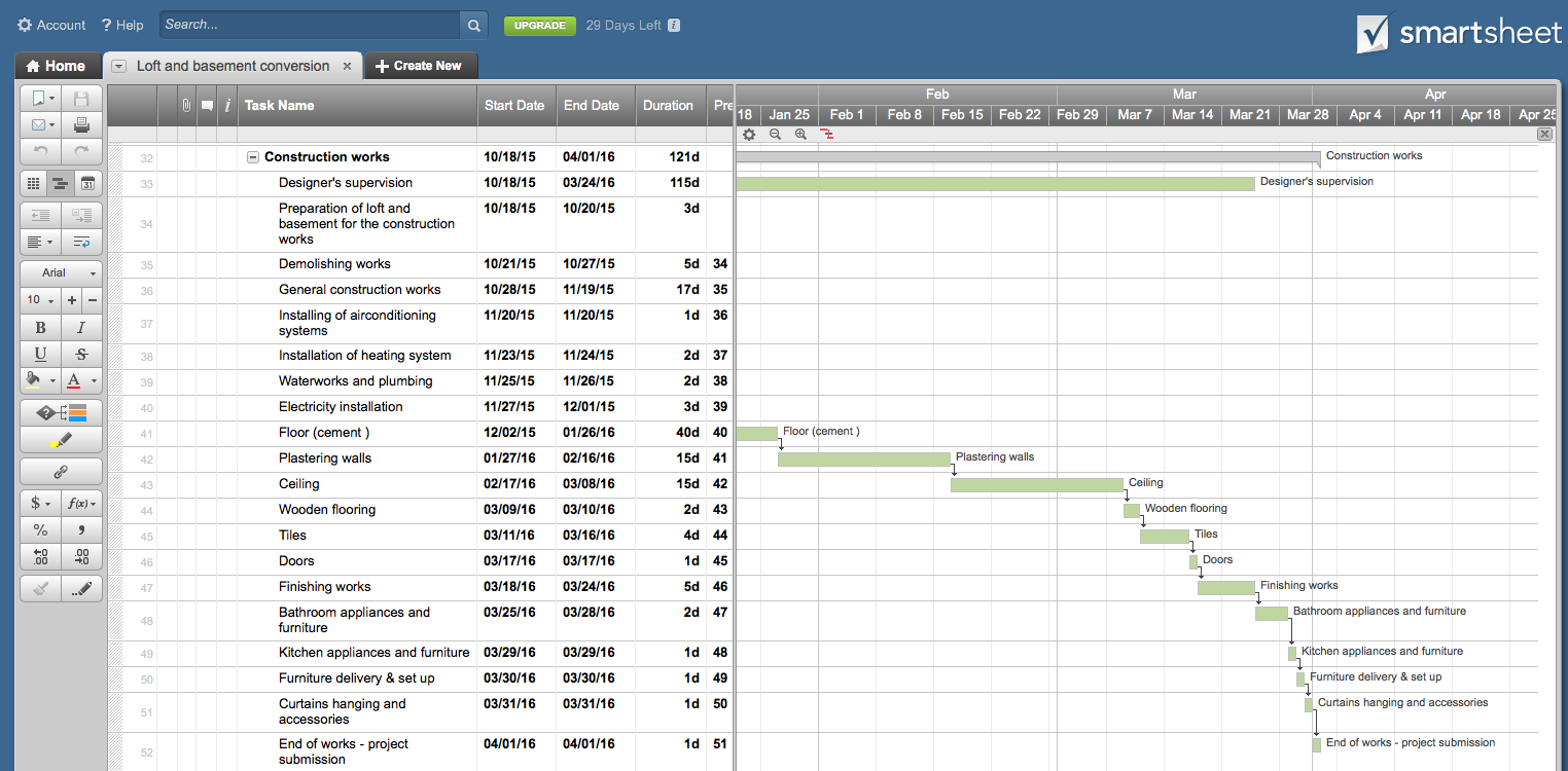 How To Make Gantt Chart For Interior Design Project