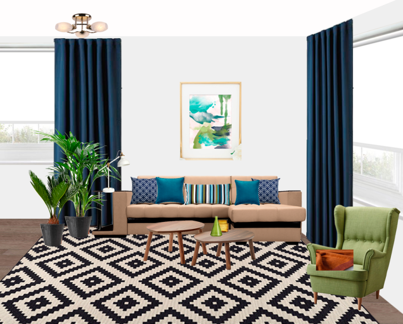 My Progress on New Project: Navy Blue Living Room