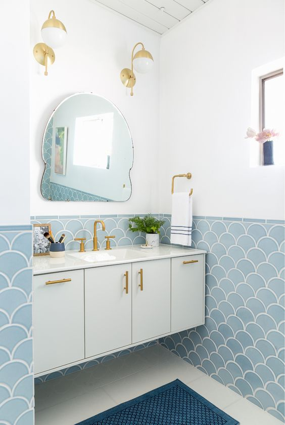 aqua blue bathroom