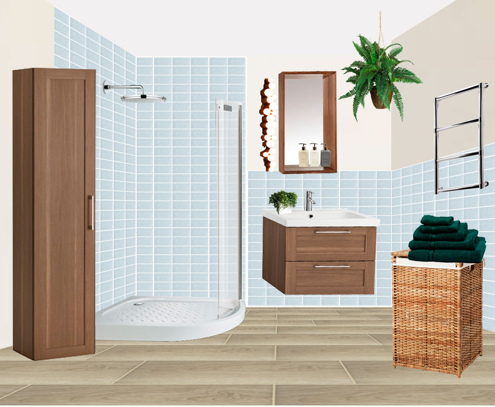 Bathroom Remodel Moodboard Concept Floor Plan