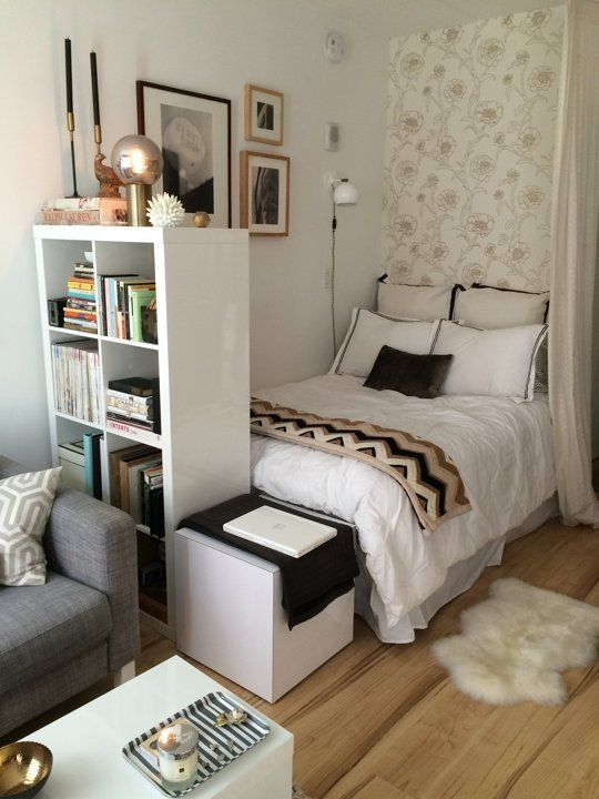 bedroom in a studio apartment