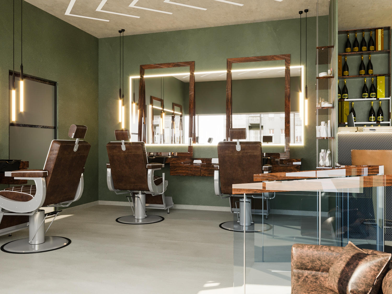 Barbershop Interior Design Project In Marbella Spain L Essenziale
